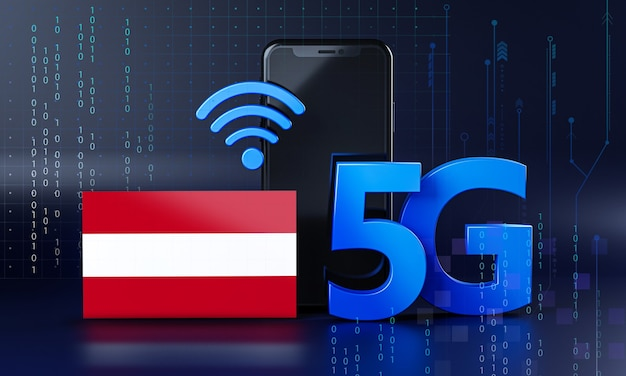 Austria ready for 5g connection concept. 3d rendering smartphone technology background