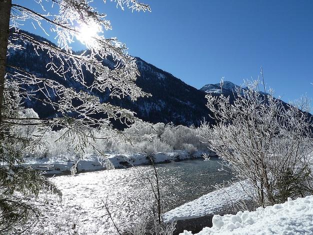 Austria river sunny winter morning cold snow