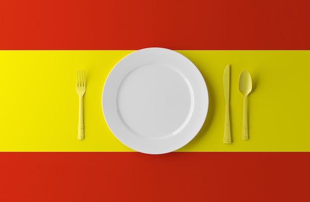 スペインの本格的な料理。スペインの旗とカトラリーのプレート。 3 dイラスト。