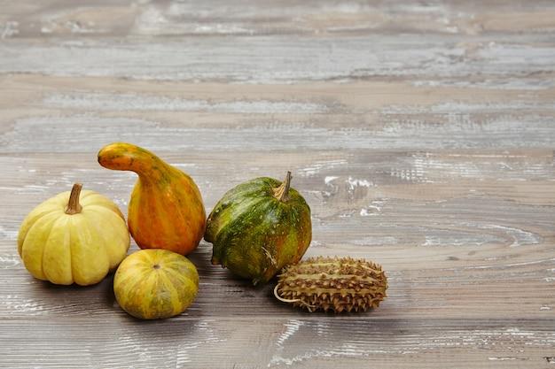 Аутентичные тыквы на деревянном столе