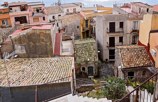 Authentic roofs of ancient moss houses sicily