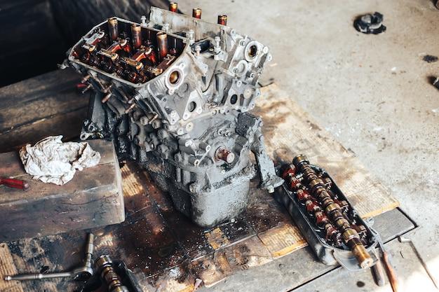 Auto engine in garage