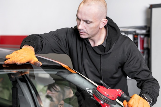 Auto glass repair and replacement. high quality photo