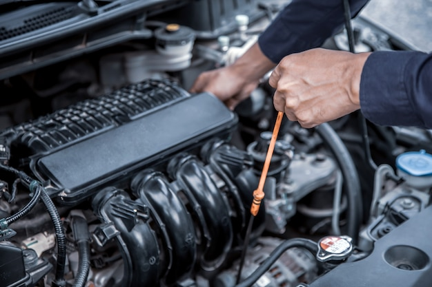 Auto mechanic checking vehicles engine oil level.