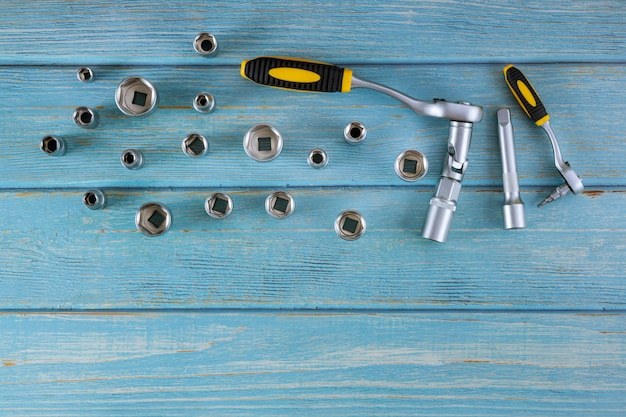 Auto mechanic tool kit has prepared tools hexagon wrenches for repair