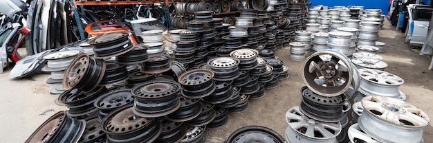 Auto parts market. car wheels are on the ground.