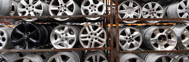 Auto parts market. car wheels are  the ground.