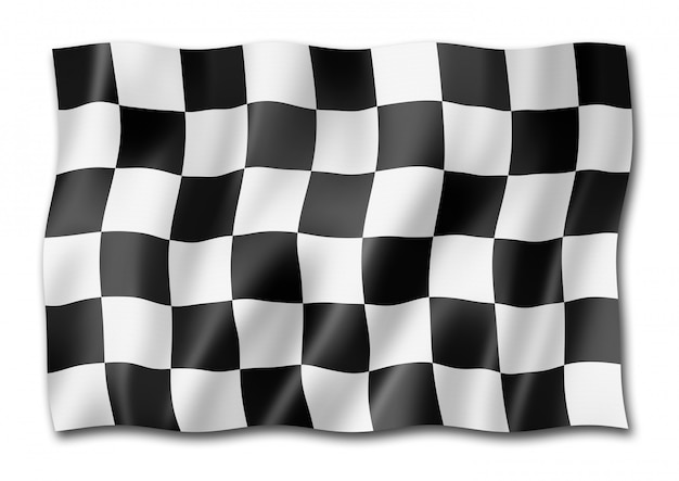 Auto racing finish checkered flag isolated