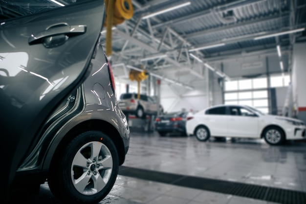 Auto repair service station blurred background garage