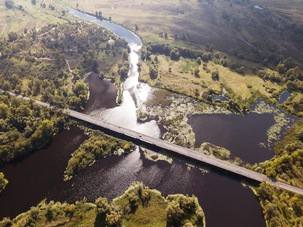 Auto road bridge over desna river in chernihiv region, ukraine