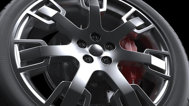 자동 휠 합금 바퀴 근접 촬영 3d 렌더링