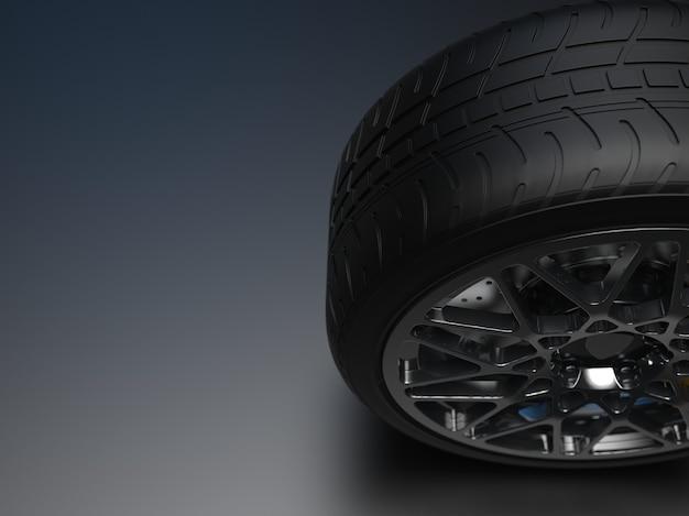 어두운 배경 3d 렌더링에 크롬 디스크와 자동 휠