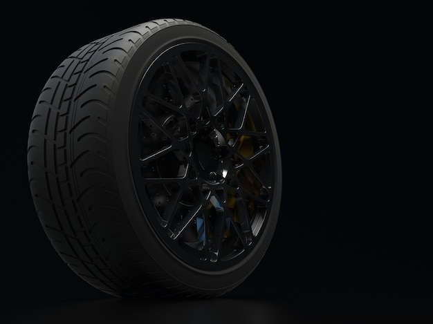 Auto wheel with chrome plated on a dark background 3d render