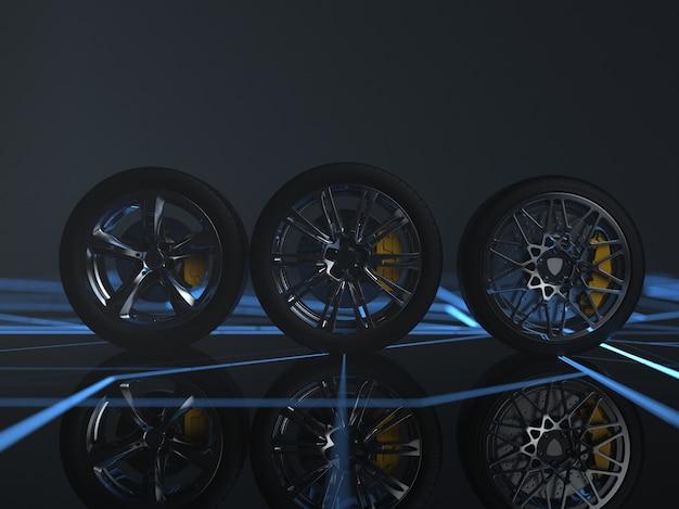 Auto wheels on futuristic background 3d render