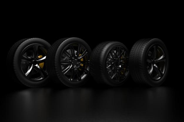 크롬 테두리와 어두운 배경에 자동 바퀴 3d 렌더링