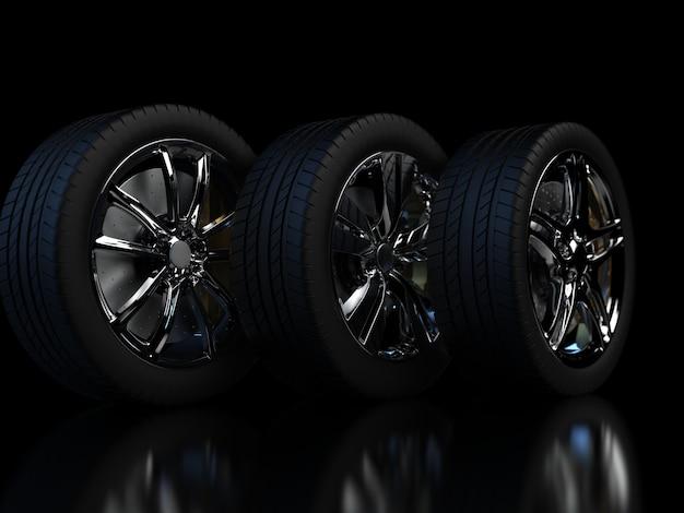 크롬 테두리 근접 촬영 3d 렌더링 어두운 배경에 자동 바퀴