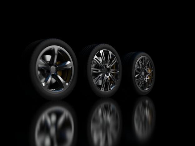 어두운 배경에 자동 바퀴