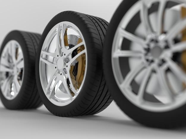 밝은 배경 3d 렌더링에 자동 바퀴
