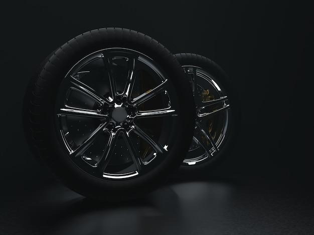가벼운 안개 3d 렌더링에 균일 한 배경에 자동 바퀴 프리미엄 사진