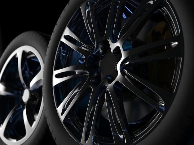 크롬 테두리가있는 자동 바퀴가 3d 렌더링을 닫습니다.