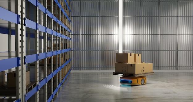 Автоматизация работы управляемого транспортного средства (agv) на складе, рендеринг 3d-иллюстраций