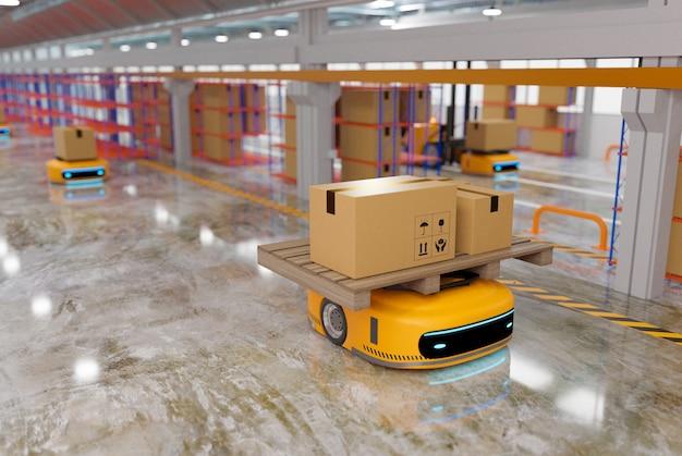 Автоматизированный управляемый автомобиль, работающий на складе, передающая роботизированная система с логистической бизнес-концепцией, рендеринг 3d-иллюстраций