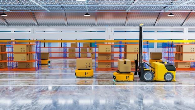 창고 3d 일러스트레이션 렌더링에서 agv 포크리프트와 함께 작동하는 자동화된 가이드 차량
