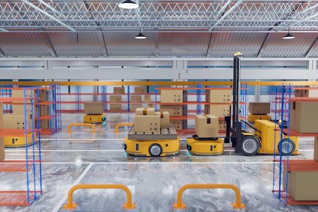 Автоматизированный управляемый автомобиль, работающий с подъемником agv на складе, роботизированная система транспортировки с логистической бизнес-концепцией, рендеринг 3d-иллюстраций