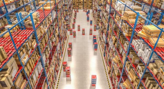 自動化された保管および出荷倉庫。 3dレンダリング。周りには誰もいない。