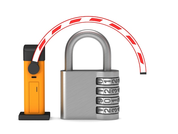 Automatic barrier and padlock. isolated 3d rendering