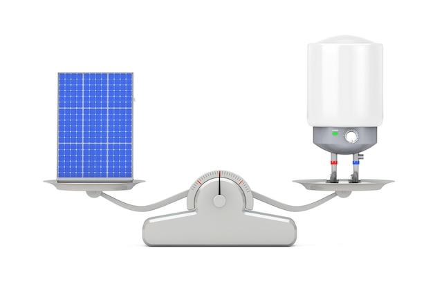흰색 배경에 간단한 가중치 규모에 태양열 온수기가 균형을 이루는 자동 전기 온수기. 3d 렌더링
