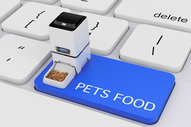 Automatic electronic digital pet dry food storage meal feeder dispenser over computer keyboard with pets food sign on a white background. 3d rendering Premium Photo