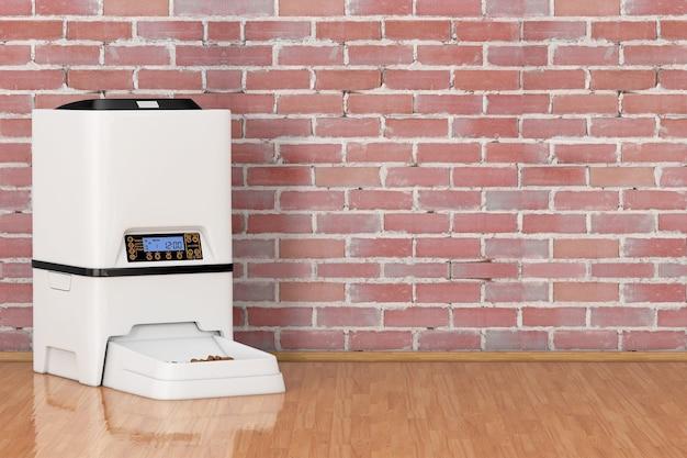 벽돌 벽 앞에 자동 전자 디지털 애완 동물 건조 식품 저장 식사 공급기 디스펜서. 3d 렌더링