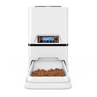 흰색 바탕에 자동 전자 디지털 애완 동물 건조 식품 저장 식사 피더 디스펜서. 3d 렌더링