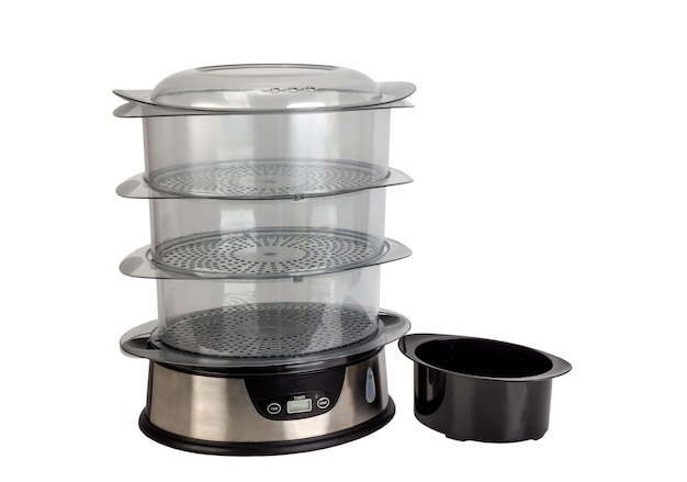 Automatic food steamer with three transparent containers and a bowl isolated on white background.