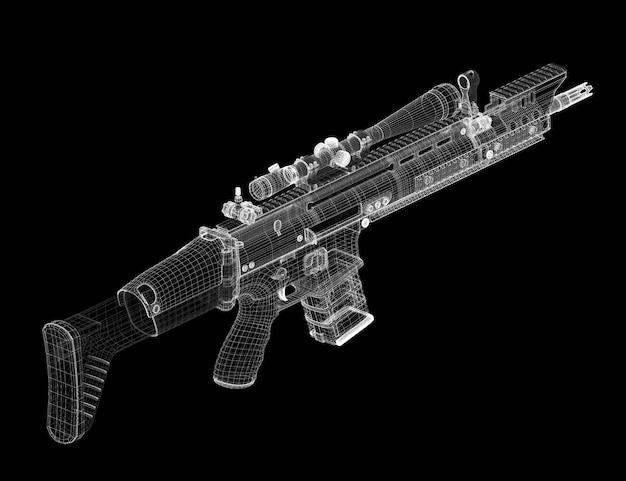 배경, 신체 구조, 와이어 모델의 자동 총