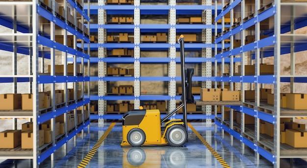 Автоматическая подъемная машина, работающая на складе, магазин робототехники, рендеринг 3d-иллюстраций