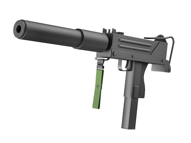 Automatic machine gun with silencer isolated