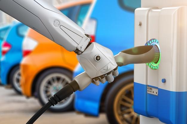 Автоматическая подзарядка с роботизированным ручным зарядным устройством для электромобилей