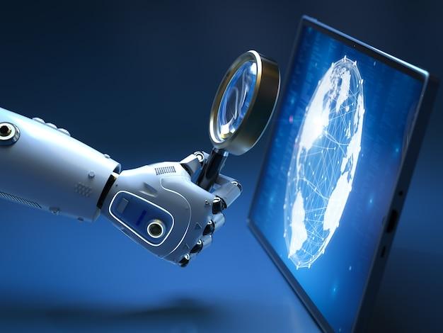 Концепция автоматической поисковой системы с 3d-рендерингом робота с увеличительным стеклом