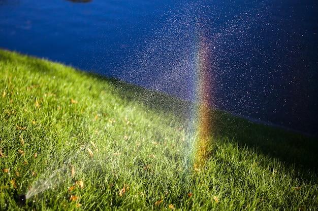 Автоматическое опрыскивание поливом газона в саду радугой в каплях воды