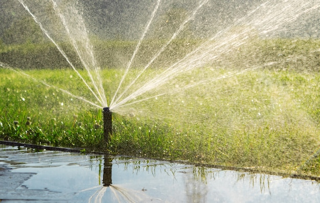 Automatic sprinkler watering the lawn in the park