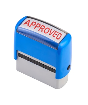 Automatic stamp tool isolated on white with approved  as text (path)