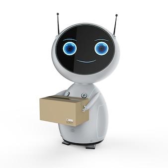 창고에서 3d 렌더링 자동화 로봇이 작동하는 자동 창고 개념