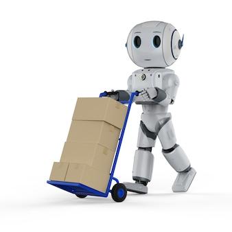 로봇과 핸드 트럭이 있는 자동 창고 개념