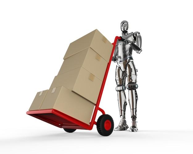 로봇 핸드 트럭이 있는 자동 창고