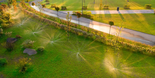 Automatic watering system irrigates lawn