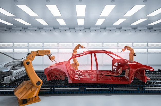 Automation aumobile factory concept with 3d rendering robot assembly line in car factory