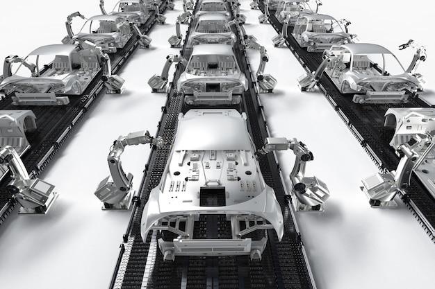 자동차 공장에서 3d 렌더링 로봇 조립 라인이 있는 자동화 자동차 공장 개념