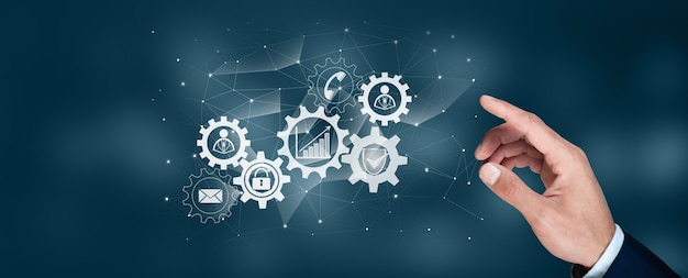Automation for business technology management and workflow diagram with gears